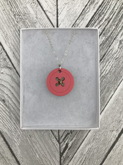 Pastel Pink Acrylic Button Necklace