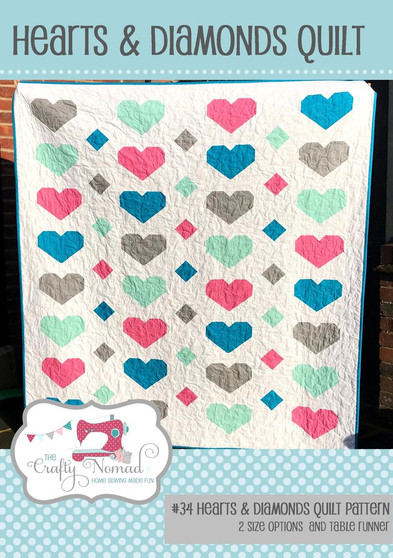 Hearts & Diamonds Quilt and Table Runner Pattern by The Crafty Nomad