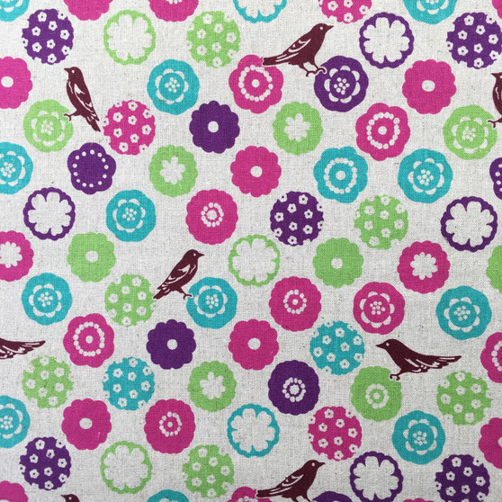 Bonbon Natural from the Echino collection by Kokka. Japanese Cotton/Linen Canvas