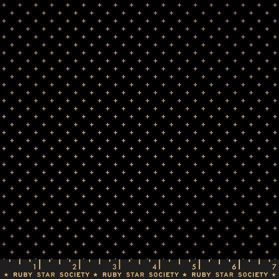 Metallic Black Gold from the Add It Up collection by Ruby Star Society. 100% Lightweight Cotton