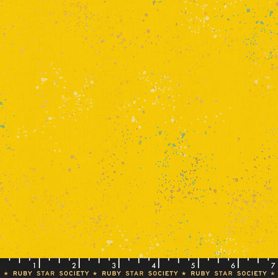 Metallic Sunshine from the Speckled collection by Ruby Star Society. 100% Lightweight Cotton