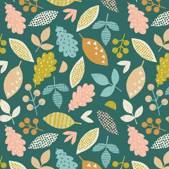 Leaves Allover Green from the Lost Treasures collection by Dashwood Studio. 100% Cotton Fabric