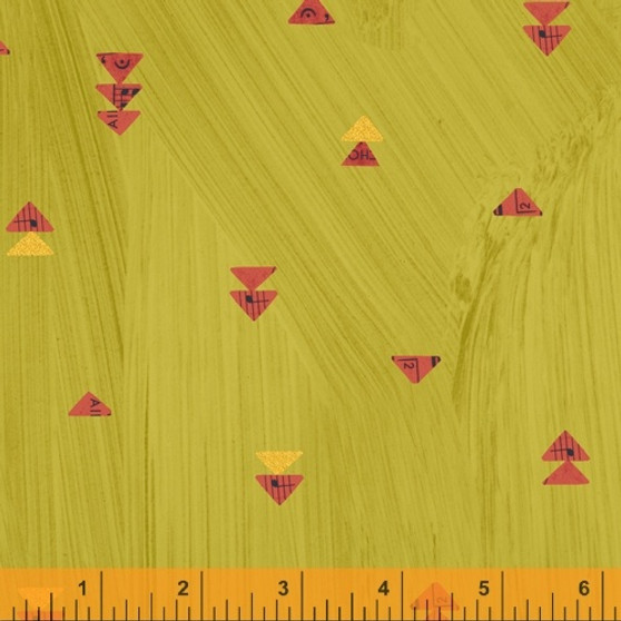Floating Triangles Olive Oil from the Wish collection by Windham Fabrics. 100% Cotton Fabric