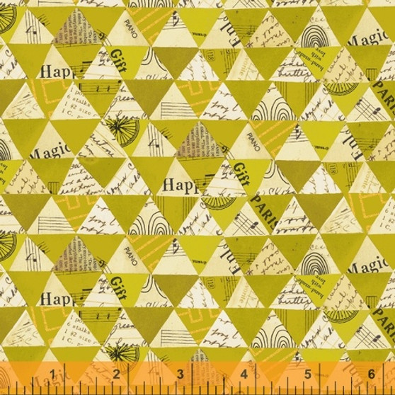 Collaged Triangles Olive Oil from the Wish collection by Windham Fabrics. 100% Cotton Fabric