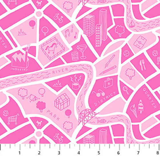 Road Map Pink - American Road Trip - Figo Fabrics, 100% Cotton Fabric