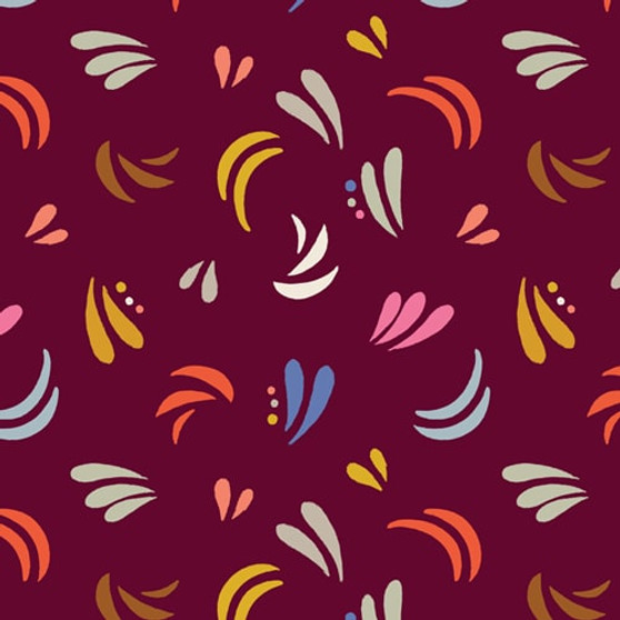 Splashes Burgundy from the Meadow Safari collection by Dashwood Studio. 100% Cotton Fabric