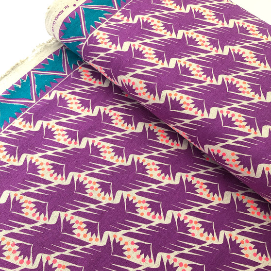 Geometric Purple from the Fabric Caravan collection by Kokka. Japanese Cotton/Linen Canvas.