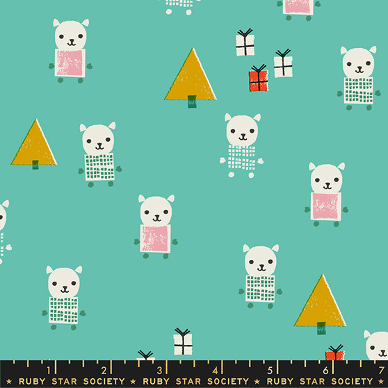 Meowy Christmas Icebox from the Flurry collection by Ruby Star Society. 100% Lightweight Cotton