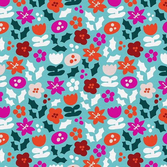 Festive Flowers Blue from the Handmade Holiday collection by PBS Fabrics. 100% Cotton Fabric