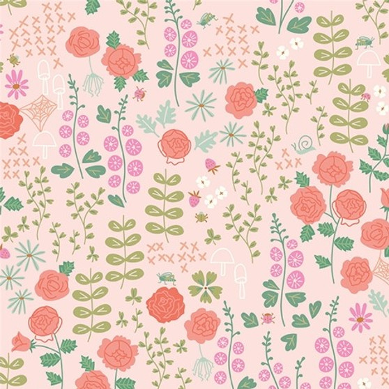 Rose Garden Blush from the New Dawn collection by Riley Blake Designs. 100% Lightweight Cotton