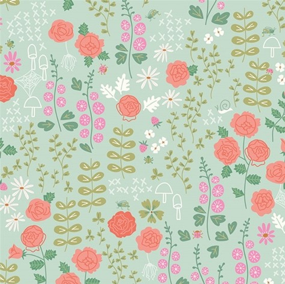 Rose Garden Mint from the New Dawn collection by Riley Blake Designs. 100% Lightweight Cotton