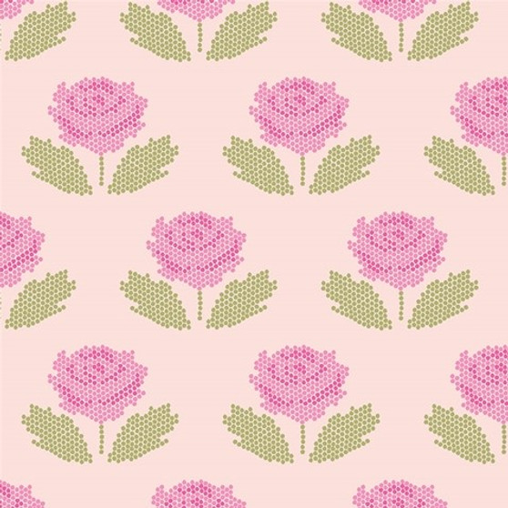 Stitch Blush from the New Dawn collection by Riley Blake Designs. 100% Lightweight Cotton