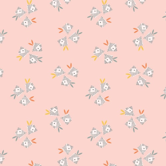 Paper Birds Light Pink from the Emi and the Bird collection by Dashwood Studio. 100% Cotton Fabric