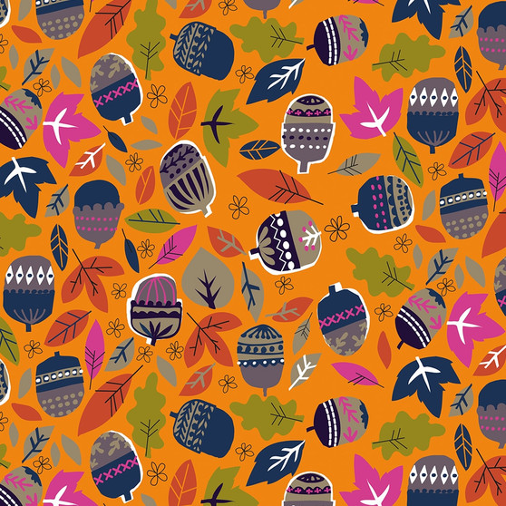 Acorns Orange from the Walk in the Woods collection by Dashwood Studio. 100% Cotton Fabric