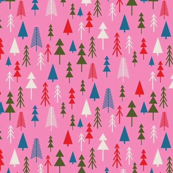 Forest Pink from the Merry and Bright collection by Dashwood Studio. 100% Cotton Fabric