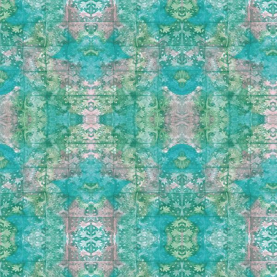 Stamps Green from the Indian Summer Collection by PBS Fabrics. 100% Cotton Fabric