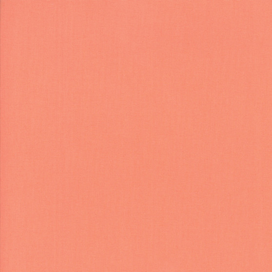 Coral from the Bella Solids collection by Moda Fabrics. 100% Medium Weight Quilting Cotton.
