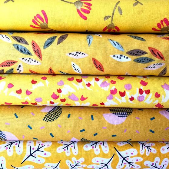 Yellow Fat Quarter Bundle - 5 Fabrics