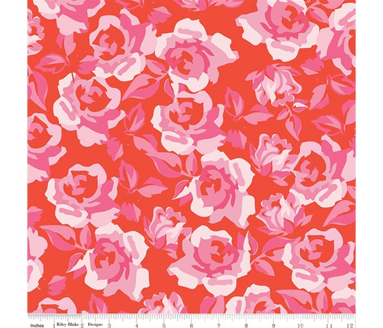 Roses Red from the Sending Love collection by Riley Blake Designs. 100% Lightweight Cotton