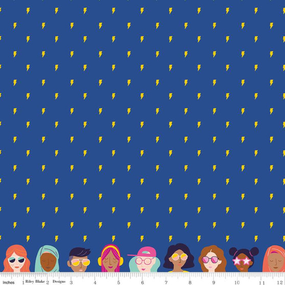 Lightning Blue from the GRL PWR collection by Riley Blake Designs. 100% Lightweight Cotton