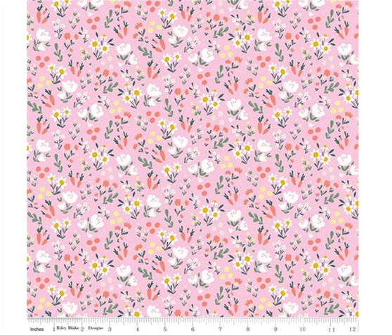 Spring Meadow Pink from the Easter Egg Hunt collection by Riley Blake Designs. 100% Lightweight Cotton