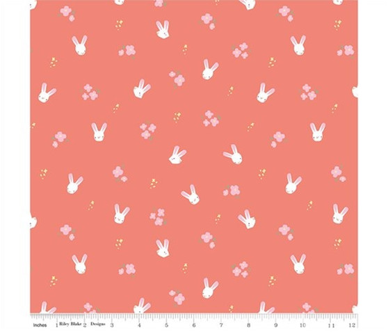 Bunnies Coral from the Easter Egg Hunt collection by Riley Blake Designs. 100% Lightweight Cotton