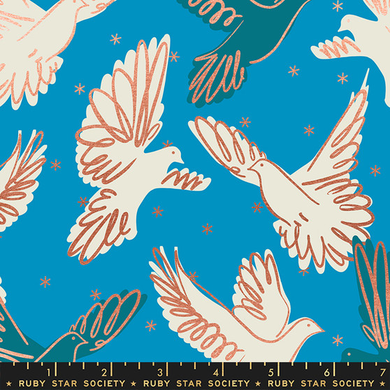 Fly Bright Blue from the Rise collection by Ruby Star Society. 100% Lightweight Cotton