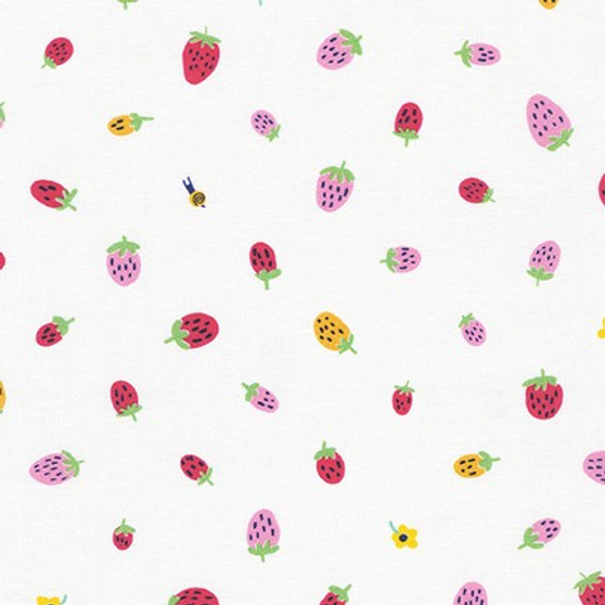 Strawberries White AILD-20168-1 from the Escargot For It! collection designed by Hello!Lucky for Robert Kaufman. 100% Cotton Fabric