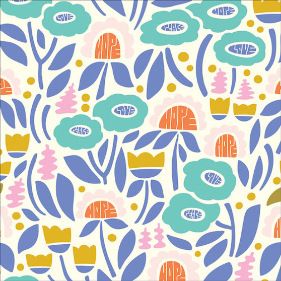 Plant Wisdom from the Universal Love collection by Cloud 9 Fabrics. 100% Certified Organic Cotton Fabric.