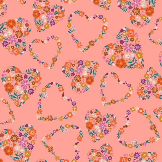 Hearts Pink from the Good Vibes collection by Dashwood Studio. 100% Cotton Fabric