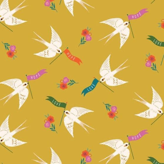 Love and Hope from the Good Vibes collection by Dashwood Studio. 100% Cotton Fabric