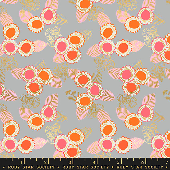 Embroidered Floral Steel from the Purl collection by Ruby Star Society. 100% Lightweight Cotton