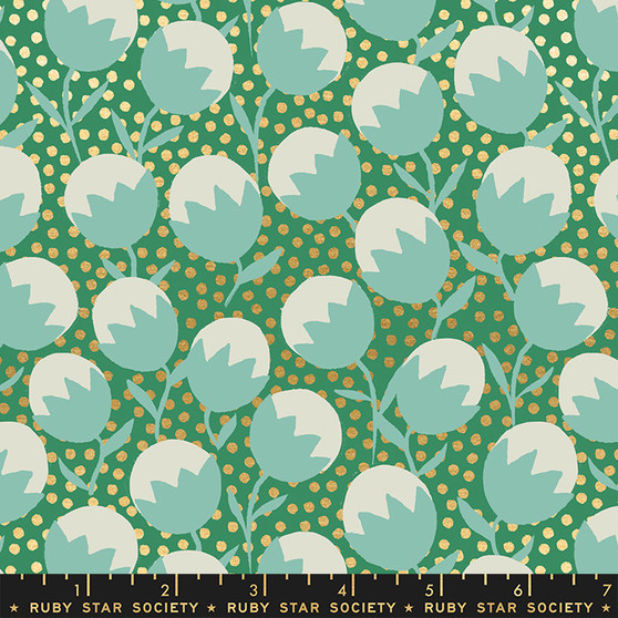 Wanderlust Emerald Green from the Purl collection by Ruby Star Society. 100% Lightweight Cotton