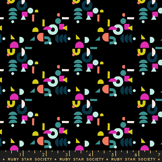 Puzzling Black from the Adorn collection by Ruby Star Society. 100% Lightweight Cotton