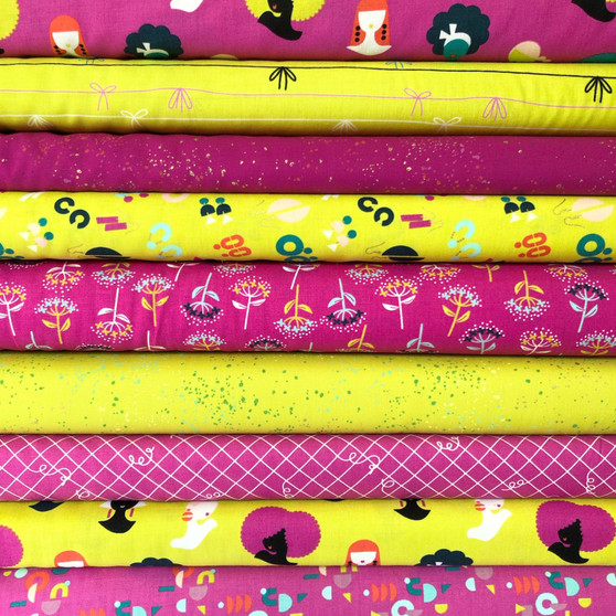 Adorn Berry and Citron Fat Quarter Bundle by Ruby Star Society. 100% Lightweight Cotton