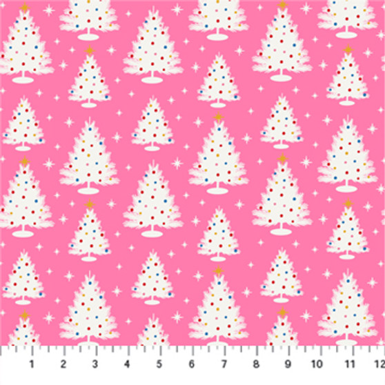 Christmas Trees Pink from the Peppermint collection by Figo Fabrics. 100% Cotton Fabric
