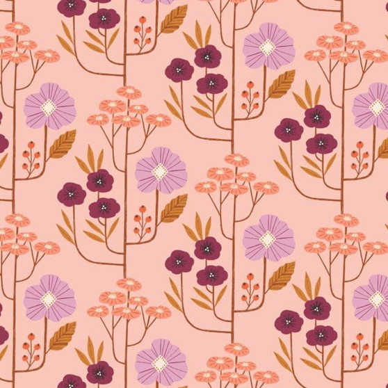 Autumn Flowers Pink from the Wild collection by Dashwood Studio. 100% Cotton Fabric