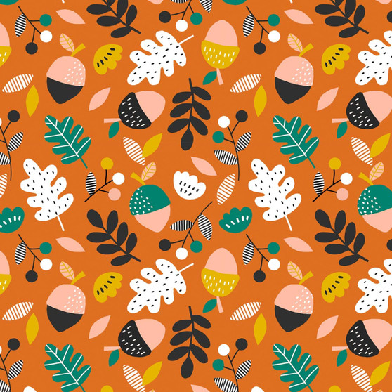 Acorns Orange from the Acorn Wood collection by Dashwood Studio. 100% Cotton Fabric