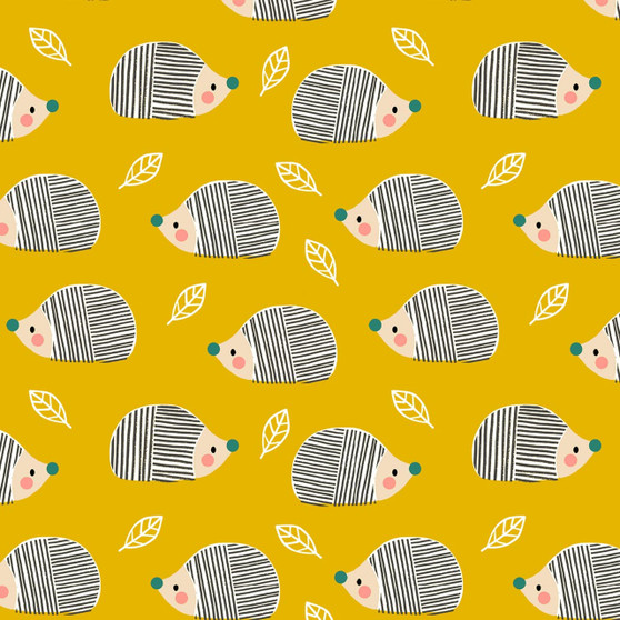 Hedgehog Yellow from the Acorn Wood collection by Dashwood Studio. 100% Cotton Fabric