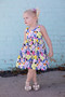 Dress made using Street Art Moon from the Here Comes The Fun collection by Art Gallery Fabrics. 100% Cotton Fabric