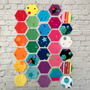 Hexies made using The Create collection designed by Kristy Lea for Riley Blake Designs. 100% Lightweight Cotton (Image Credit: Kristy Lea)