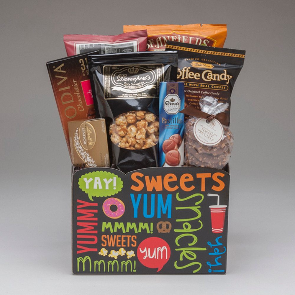 This fun and fabulous box full of snacks & treats is just the right thing to brighten someones day! It's a great size to share, and the response is sure to be...mmmm, yum, YAY!!