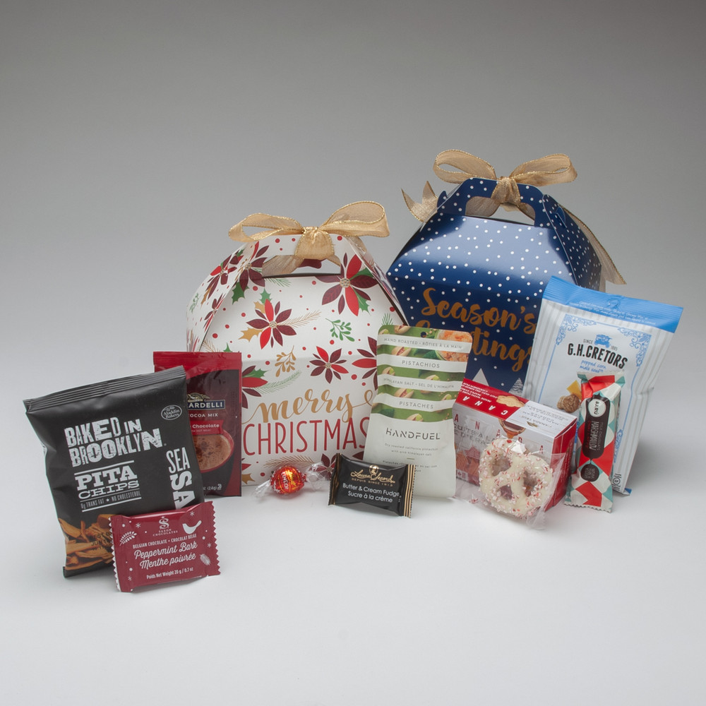 """The perfect gift when """"just a little something"""" is needed, this holiday gift box come with a remarkable selection of small snacks & treats...so much so, that you may just want to add another to your order for yourself!  Contact our office by phone if you need a custom version of this design, or if you need a large number."""