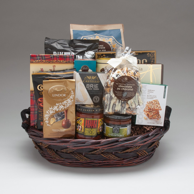 This large and impressive BEST SELLING gift basket is perfect when you need a gift suitable for a large group to share! And it pretty much has it all; both a wonderful selection of traditional gourmet foods (like Brie cheese, antipasto, crackers & cookies), as well as some yummy snacks & treats (like chips & salsa, pretzel sticks, Lindt Chocolates, and more) It is well suited for a group to share on any occasion, and is perfect for friends, family & clients.