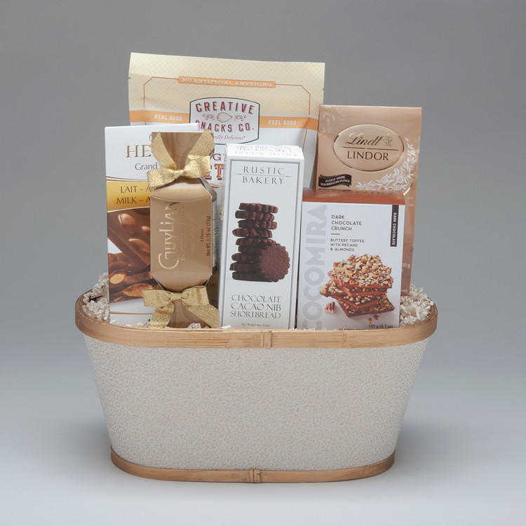 This classy gift is filled with a sweet selection of cookies, candy and chocolates...absolutely delicious! Perfect as a corporate gift, but also for family & friends who love all things sweet!