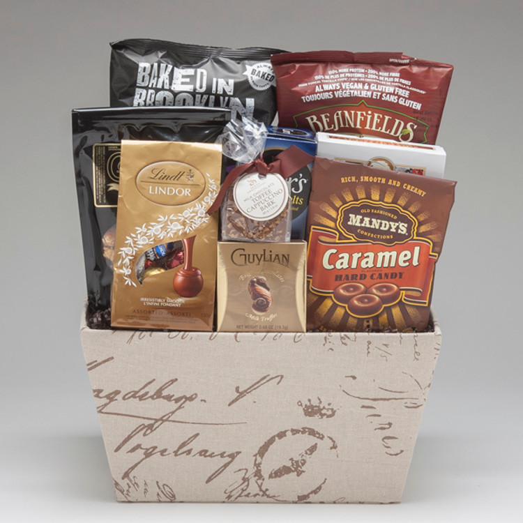 Perfect for corporate gift giving, and for groups to share, this gift is full of yummy snacks & treats that will be very much enjoyed! Lindt chocolates, cookies, popcorn, and pretzel sticks are just a few of the great snacks to be enjoyed!