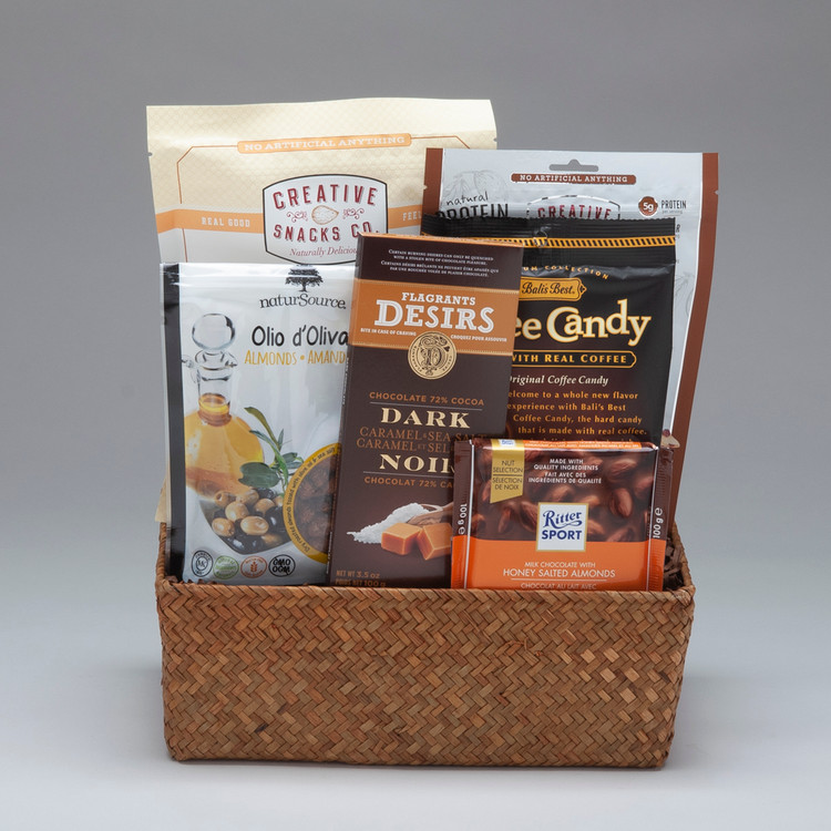 We absolutely love this fabulous gift, with high quality snacks and treats, and some really good nuts in the mix!