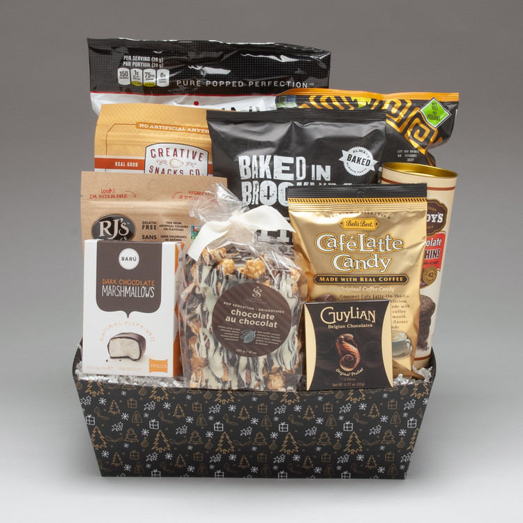 Intended for a group to share, this large gift basket comes loaded with a fabulous selection of snacks, treats & chocolates, including our favourite Saxon Chocolate Pop Sensation... the best decadent popcorn snack we've tried! It is definitely Holly Jolly, and perfect for office groups or friends & family to share!