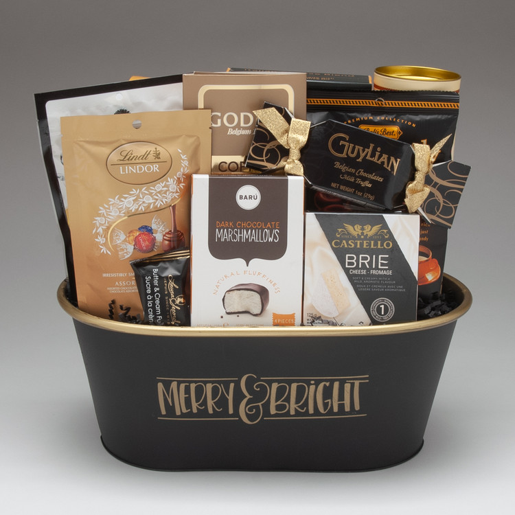 This gorgeous keepsake tin comes loaded with the perfect balance of sweet and savoury items, with classics such as Danish Brie & crackers alongside our new favourites, NaturSource almonds and the oh-so-pillowy soft Dark Chocolate Marshmallows from Baru. Perfect for both personal and corporate gifts, this gift is sure to please.