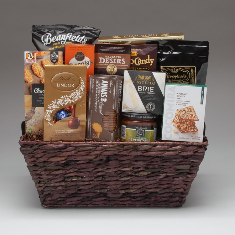 This BEST SELLING gift basket is filled with our favourite 'tried and true' selection of traditional gourmet foods: Brie cheese, antipasto, crackers, cookies, nuts & sweets. It is well suited for a group to share on any occasion, and is perfect for friends, family & clients.